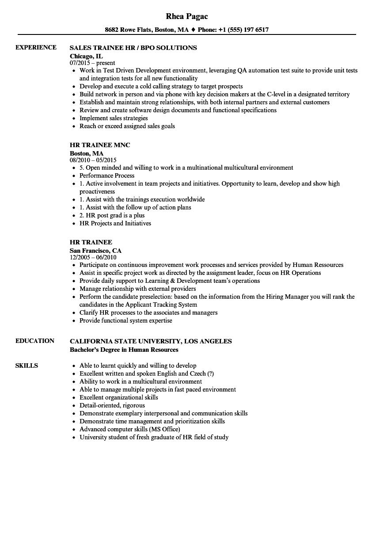 sample resume human resource fresh graduate