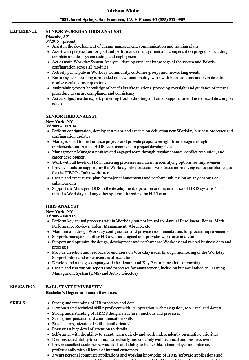 hris analyst resume