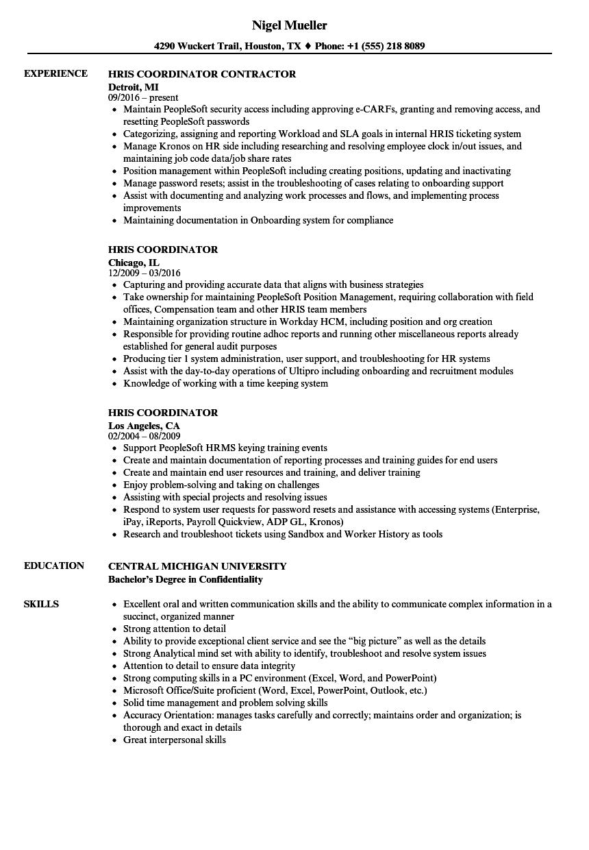 hris administrator resume sample