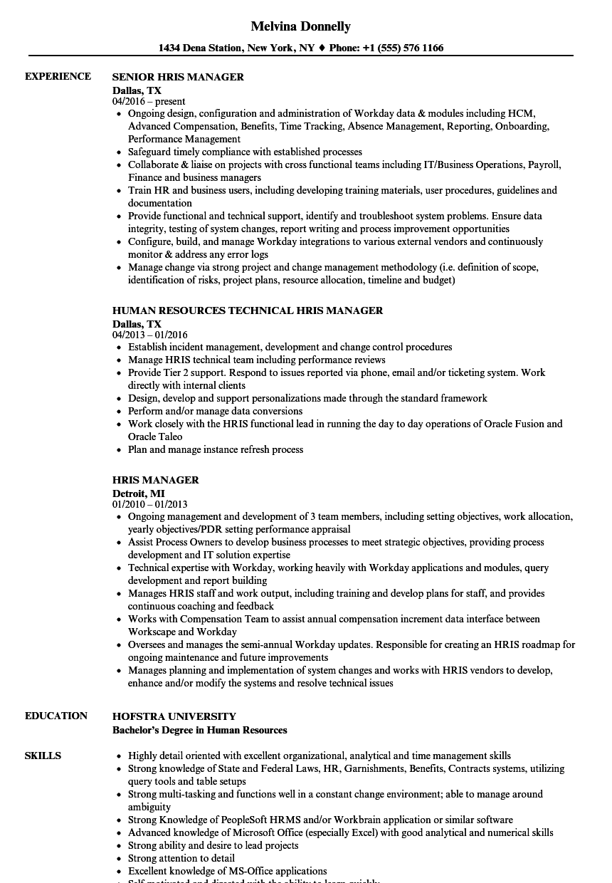 workday hris analyst resume sample