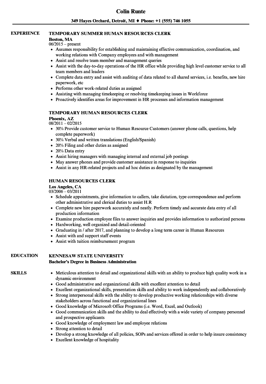 resume human resources specialist