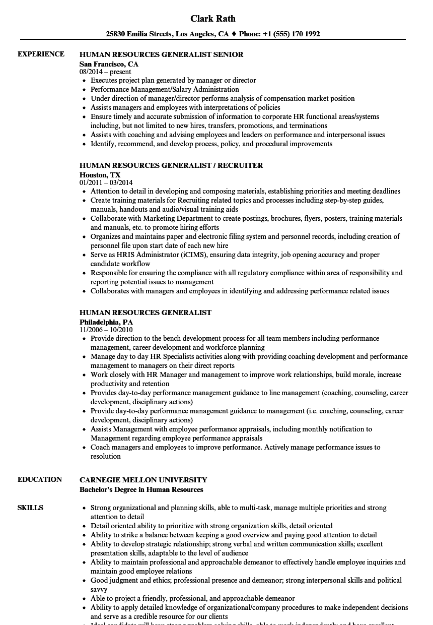 human resource management resume