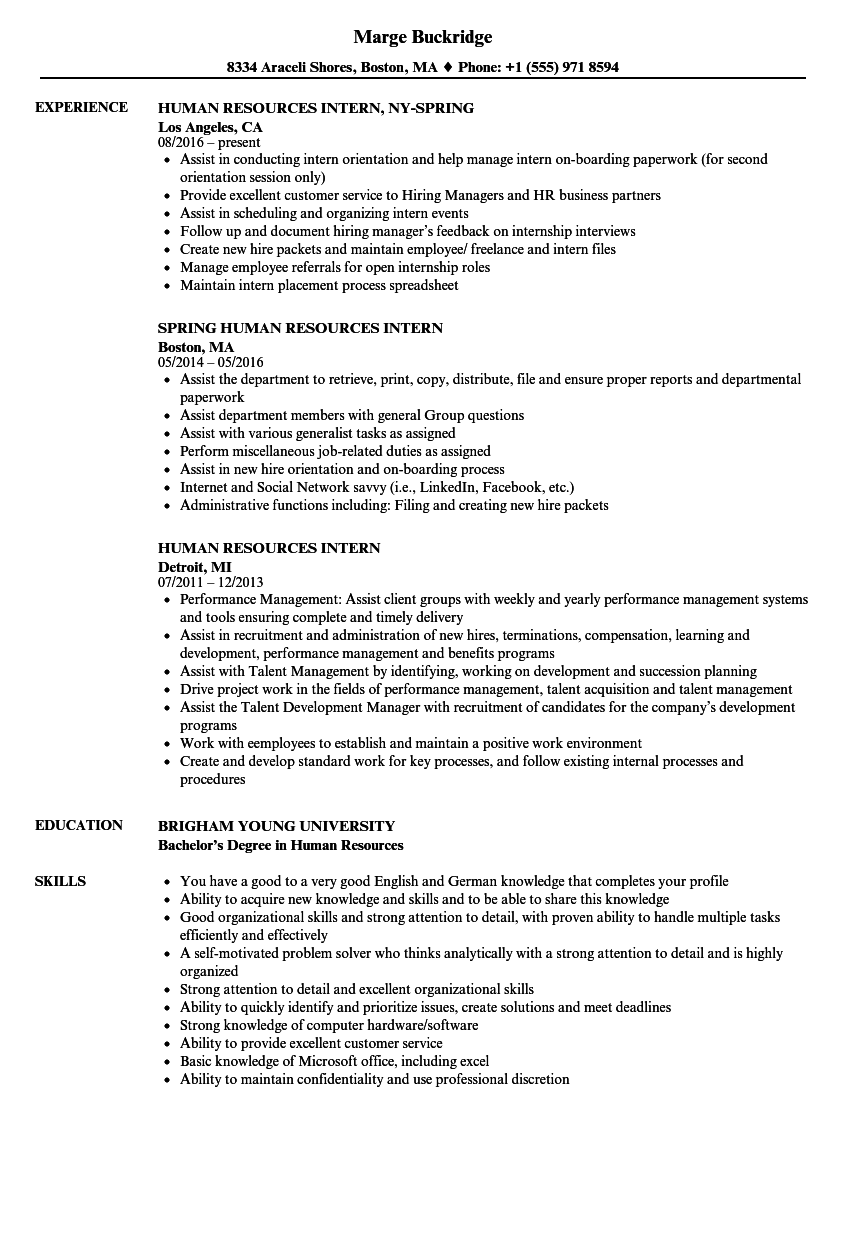 hr internship resume samples