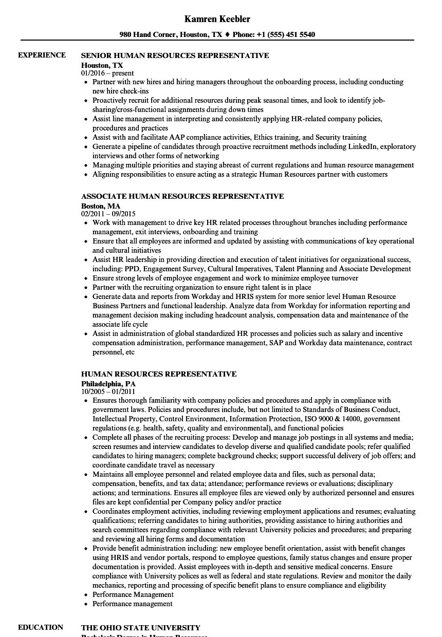 resume human resources director