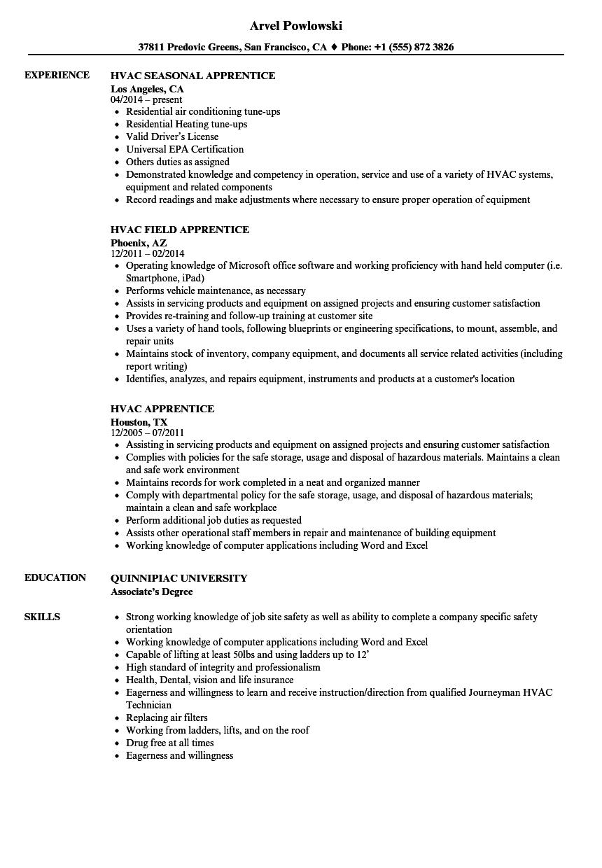 hvac apprentice resume templates