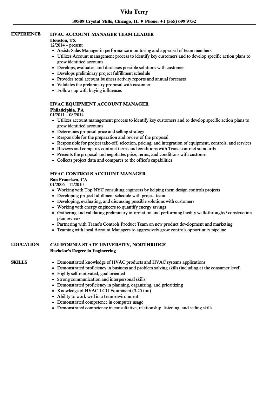 hvac project manager resume sample