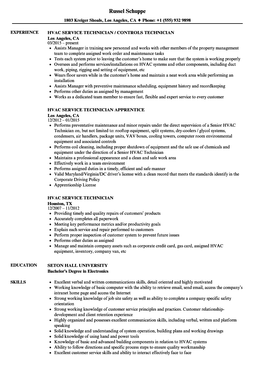 gas technician resume examples