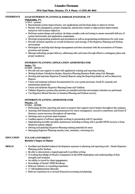 hyperion planning sample resume