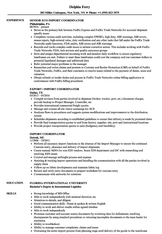 import export coordinator resume sample
