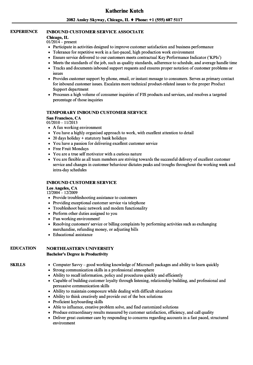 resume customer service call center lead examples
