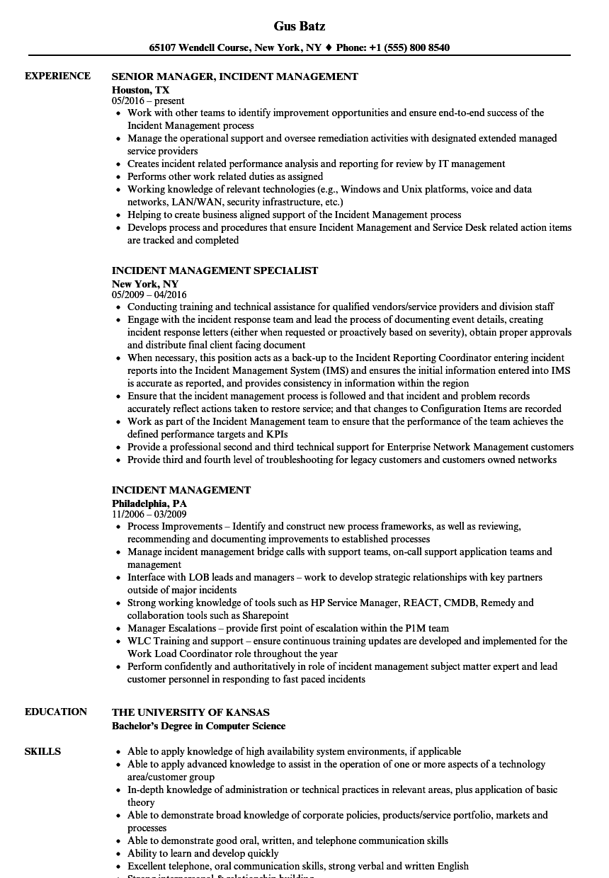 major incident manager resume sample