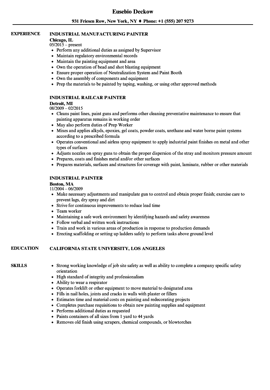 painter job resume sample