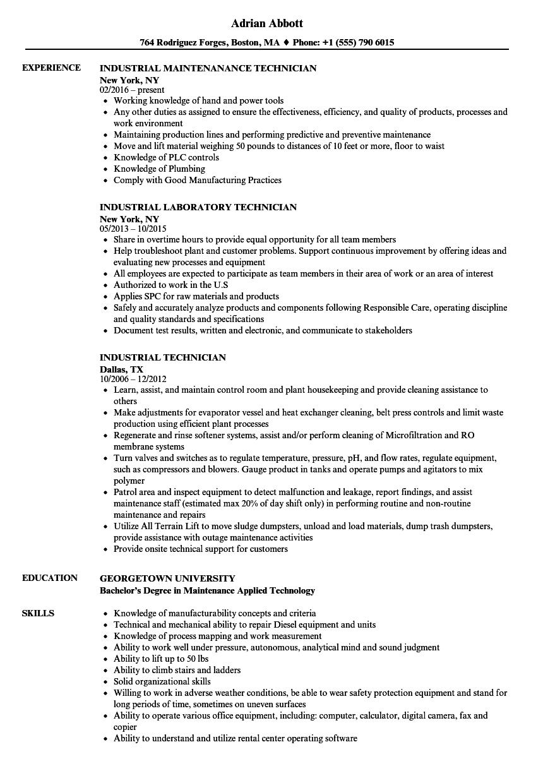 industrial maintenance technician resume examples