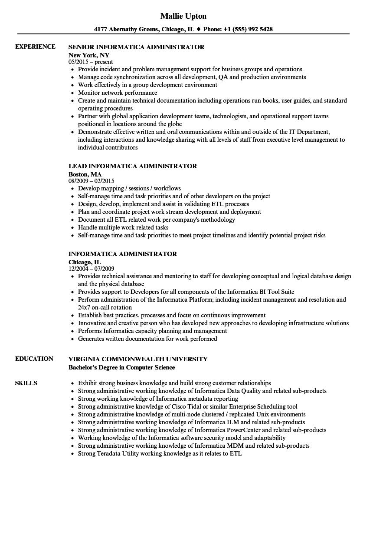 informatica resume examples