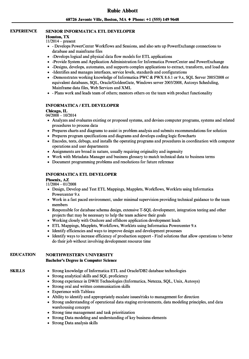 informatica powercenter and power exchange sample resume