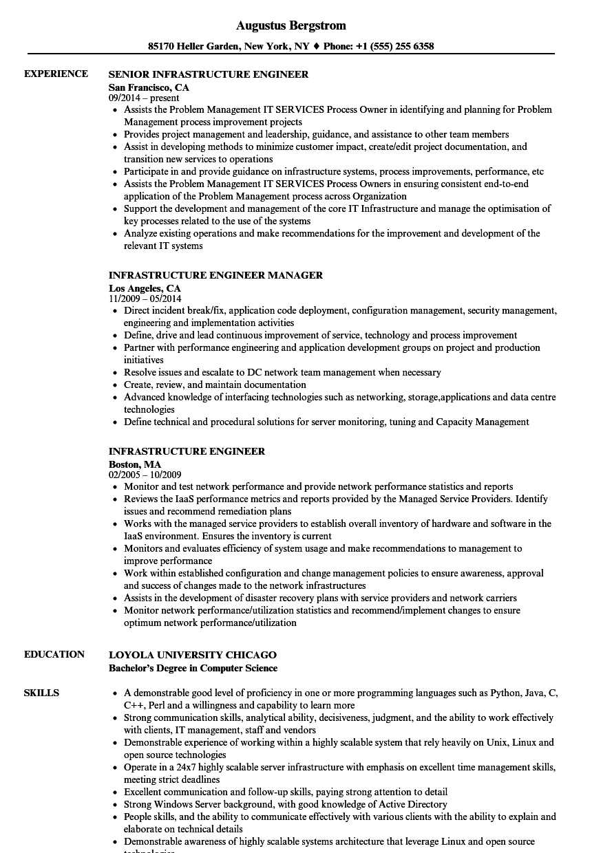 resume example monitoring engineer