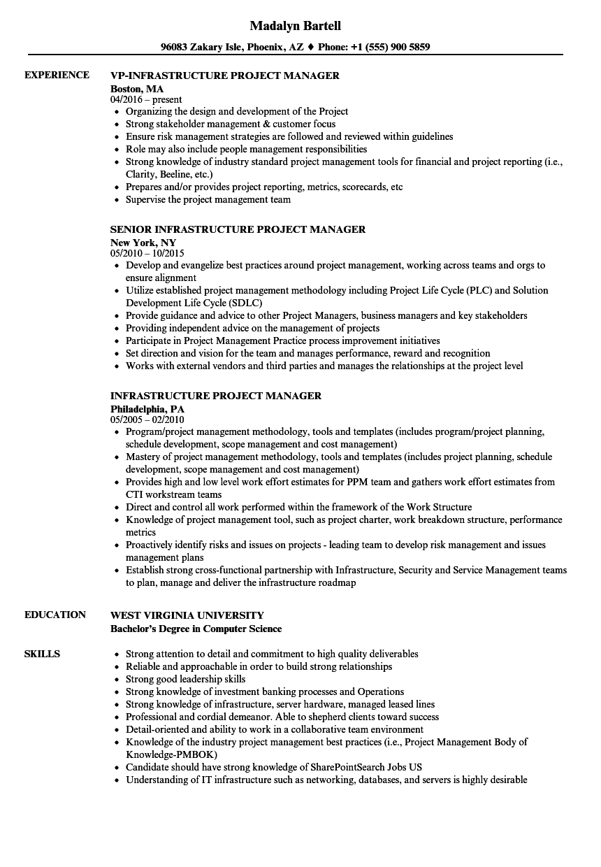 it infrastructure project manager resume samples