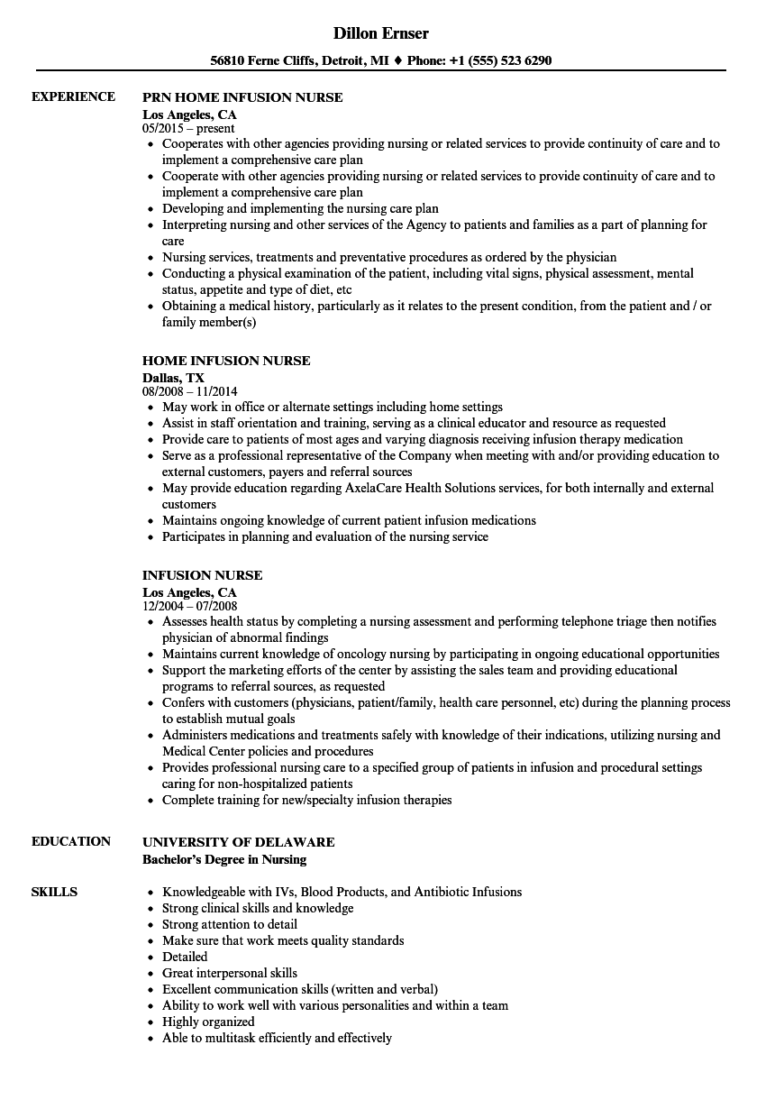 sample resume for infusion nurse