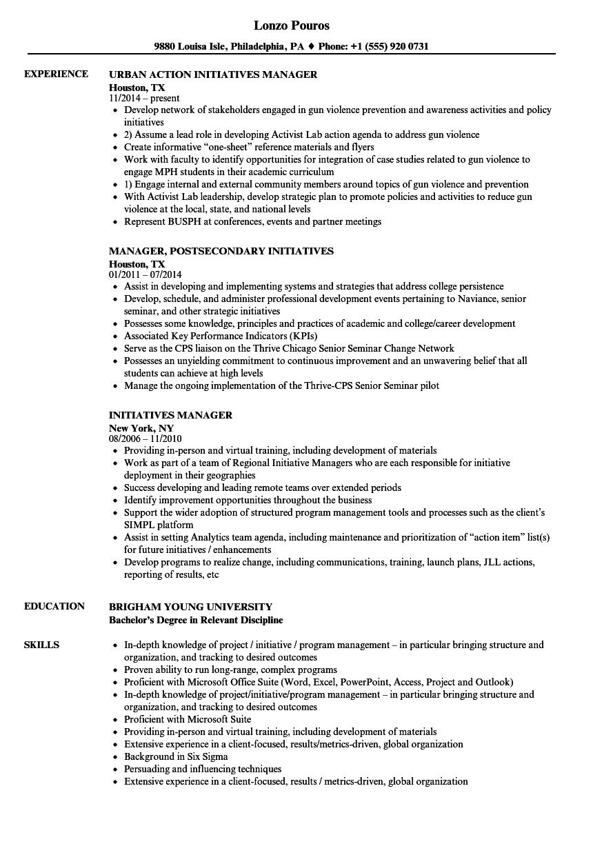 initiative cv examples