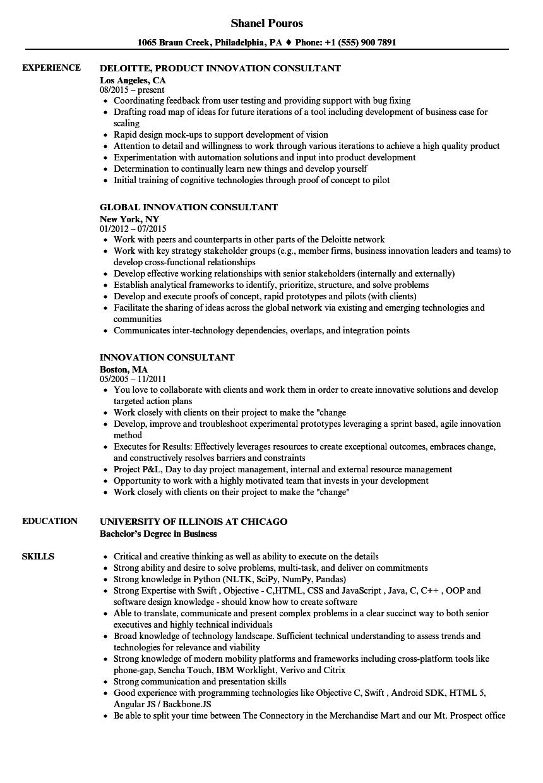 resume innovation consultant