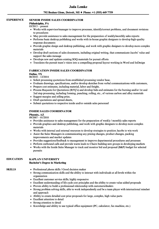 inside sales coordinator resume sample