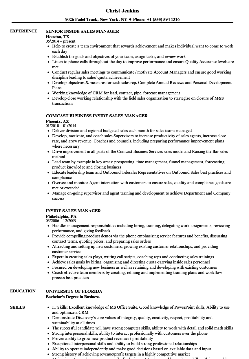 inside sales manager resume examples