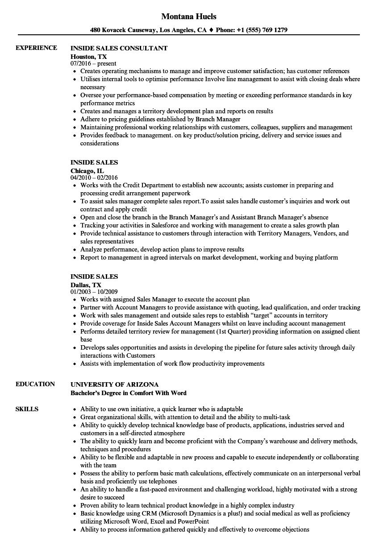 inside sales executive sample resume