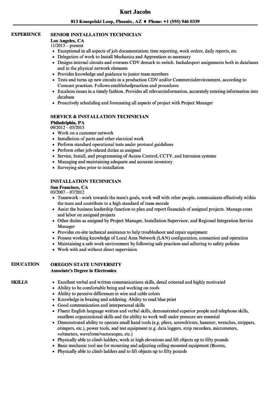 valve technician resume sample