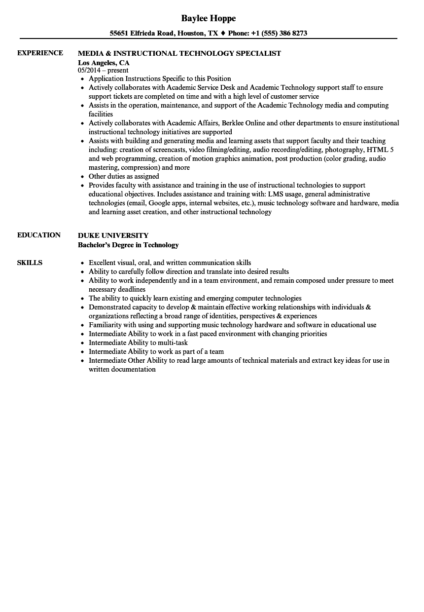 excelent instructional specialist resume examples