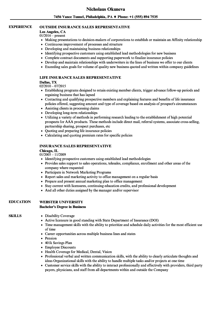 resume examples for insurance jobs