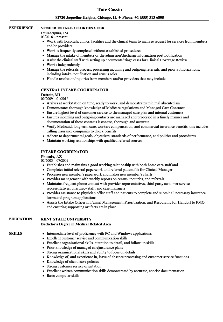 intake and referral manager resume samples