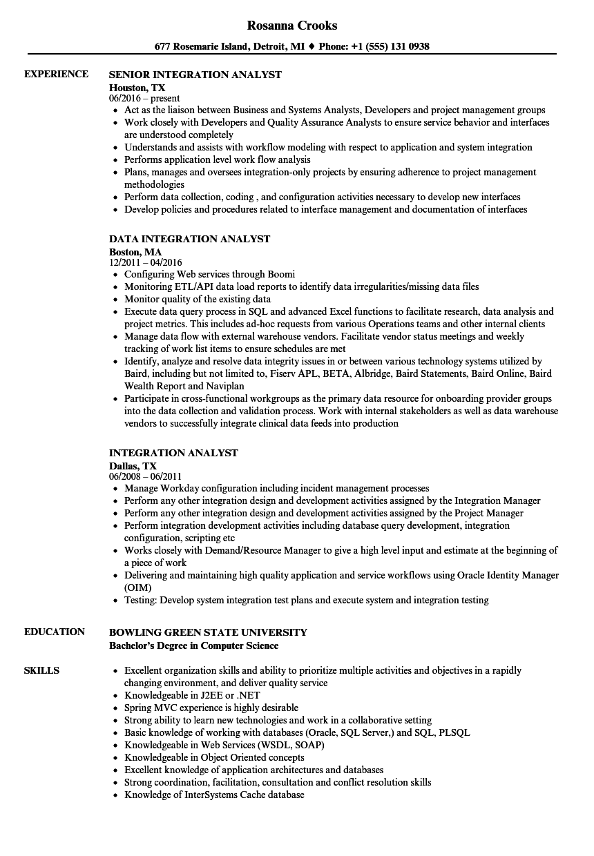 sample test analyst resume
