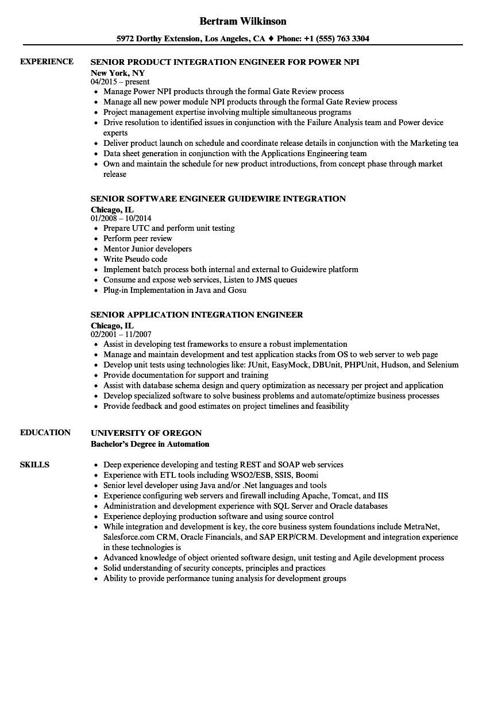 integration engineering resume examples