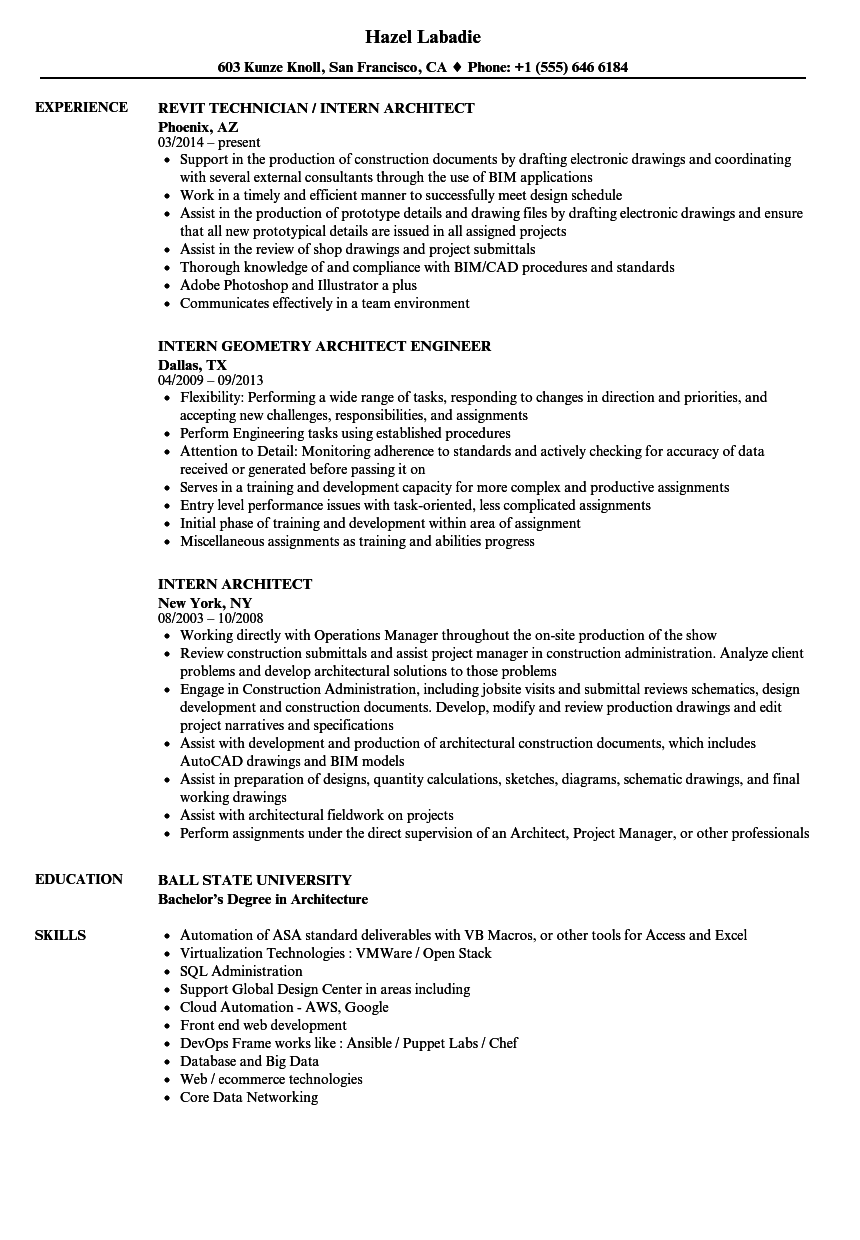 sample resume of an architecture student
