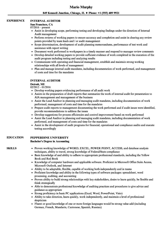 iso internal auditor resume sample