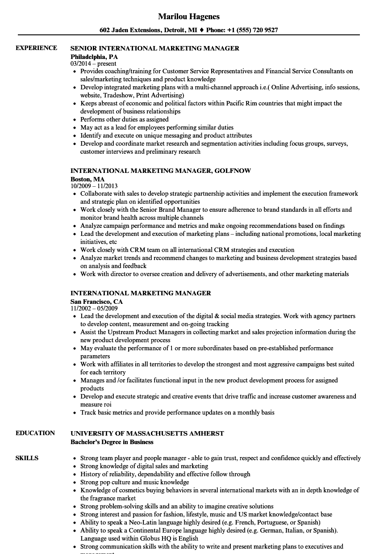 resume sample for brand manager