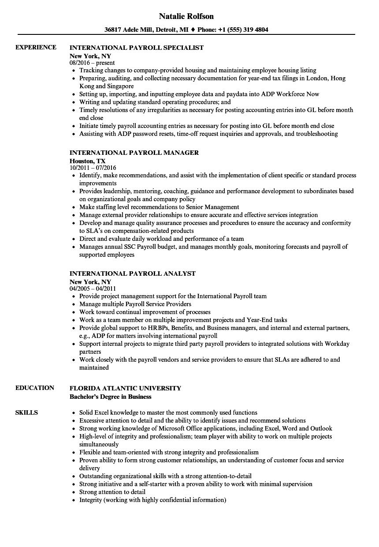 sample resume for payroll coordinator