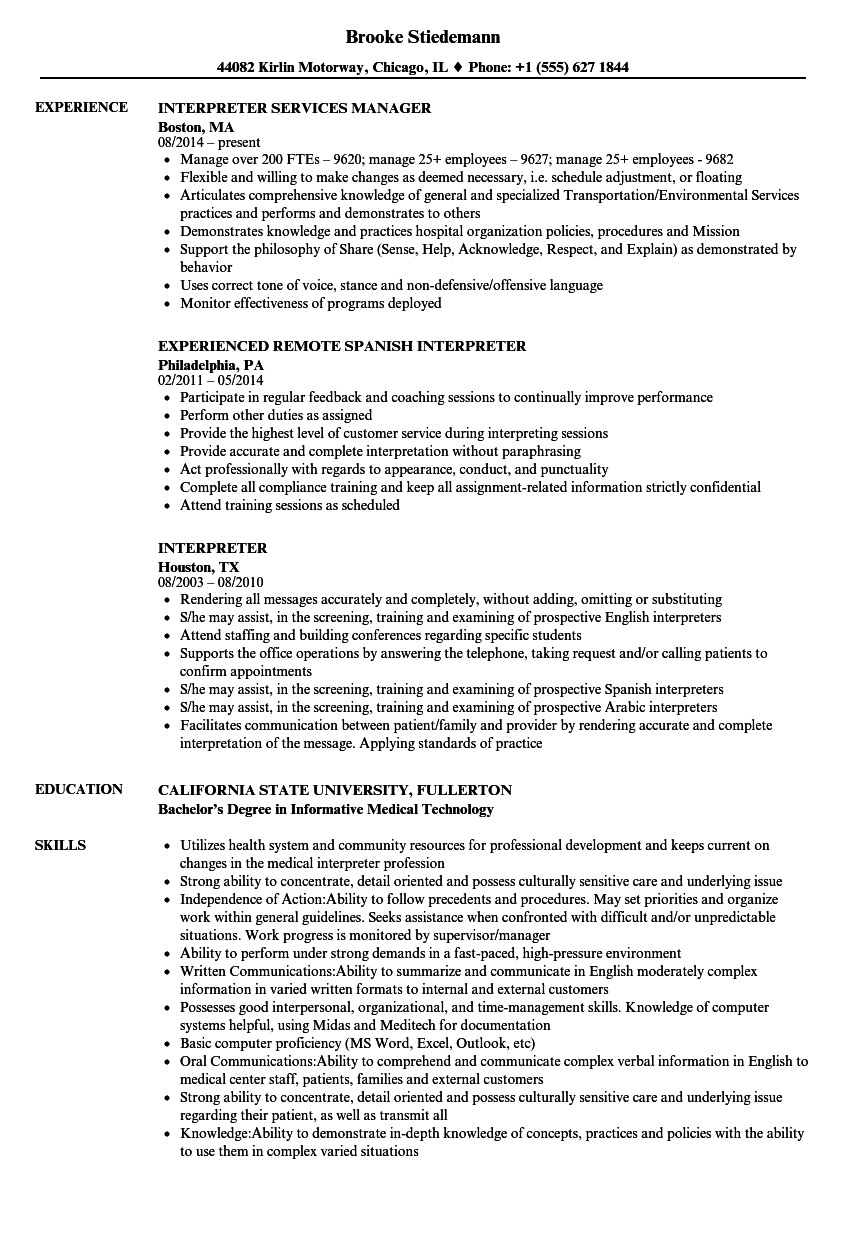 resume examples for medical interpreter