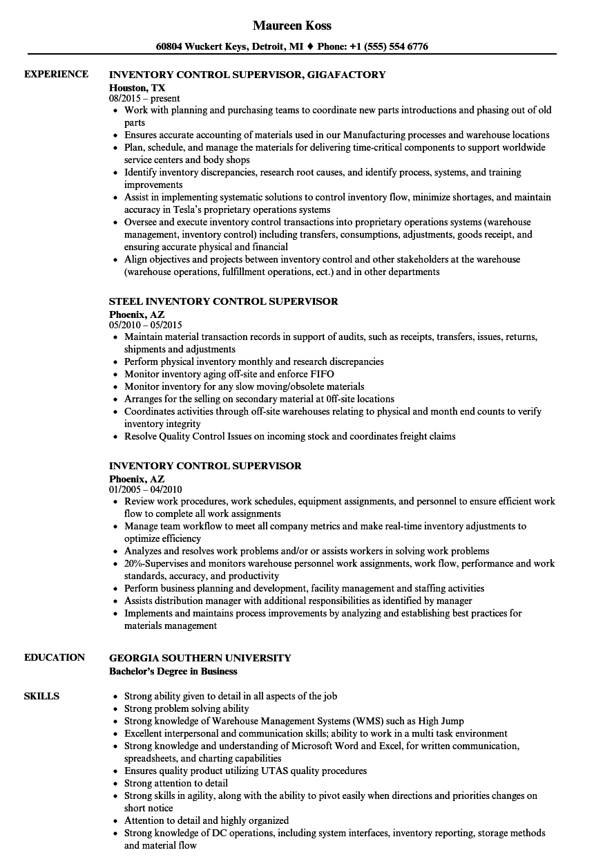 inventory control manager sample resume