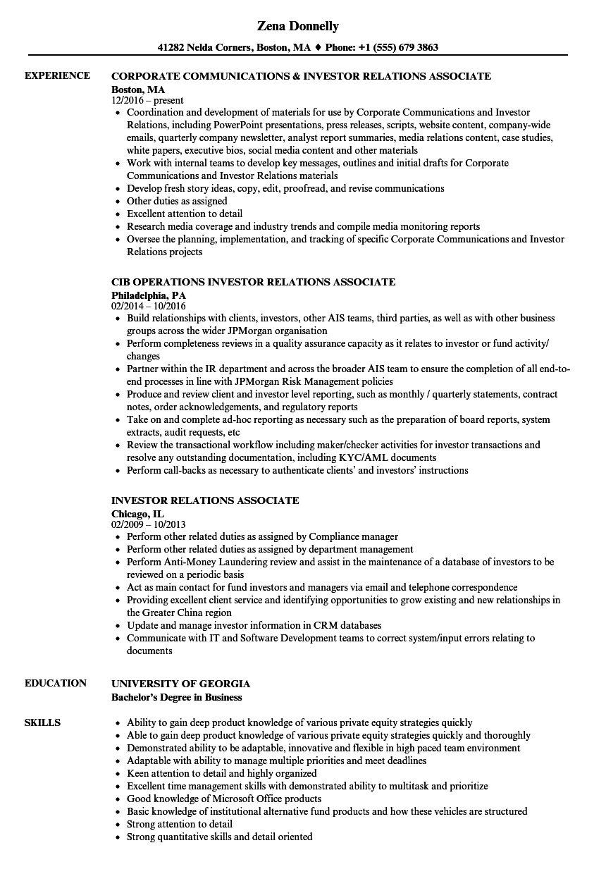 client relations resume