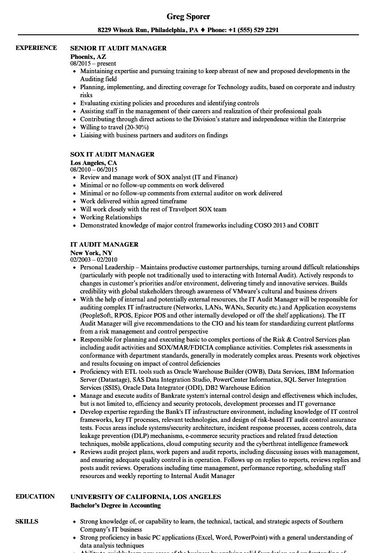 audit manager resume sample