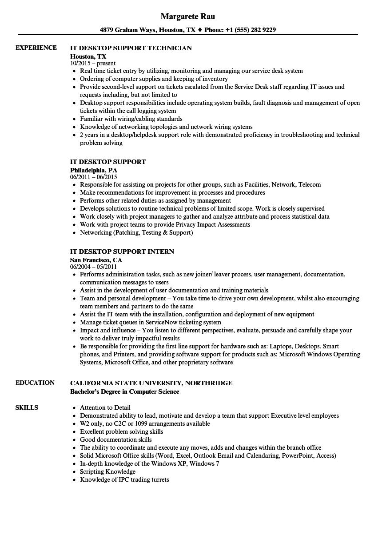 desktop support technician sample resume