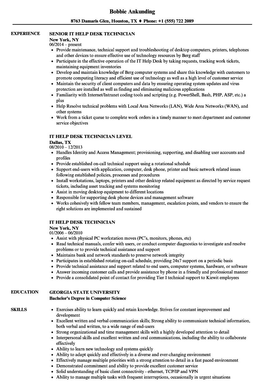 sample resume for it help desk technician