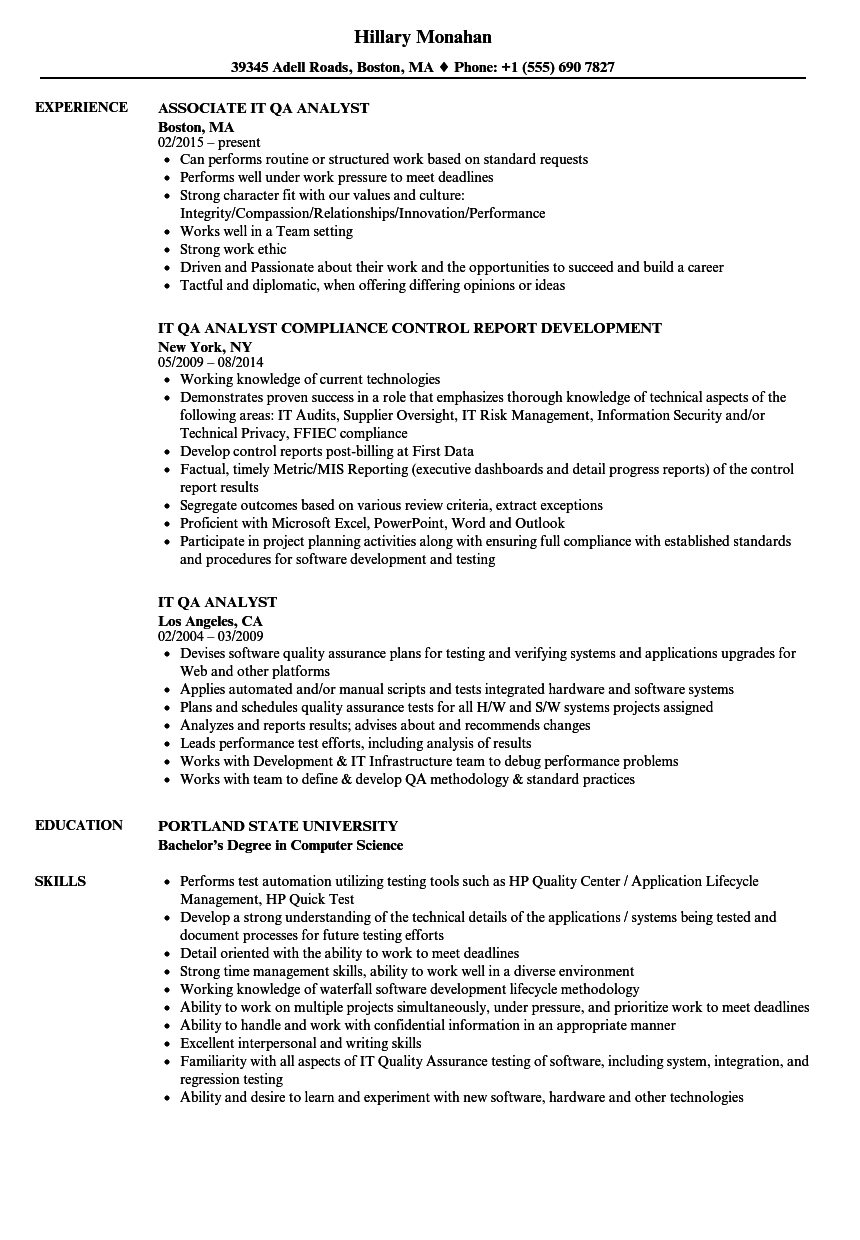 sample resume for senior business analyst