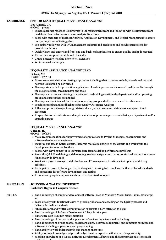 resume for quality assurance associate