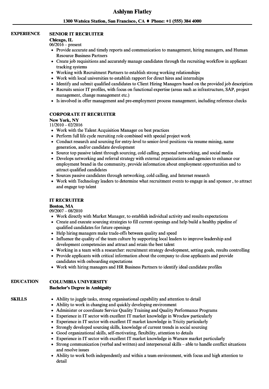 it technical recruiter resume sample