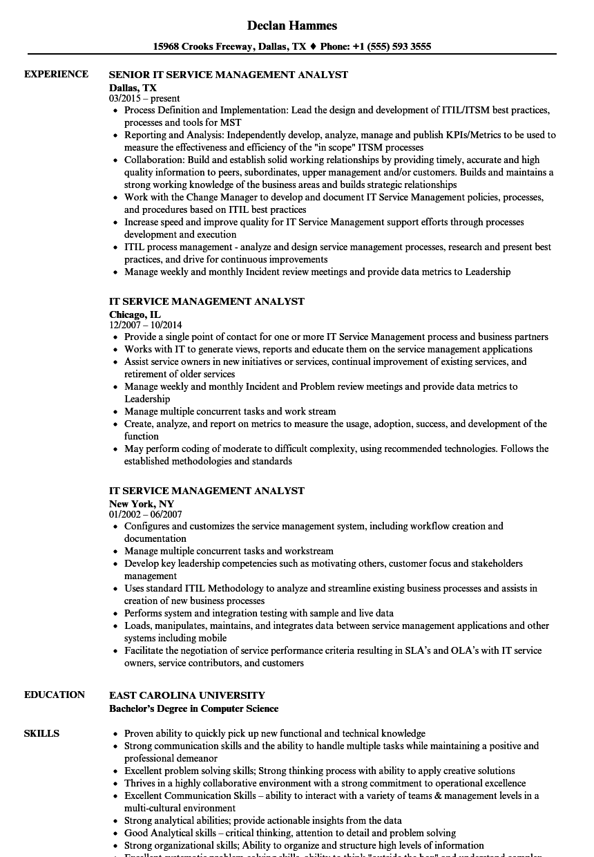 business analyst with itil resume samples