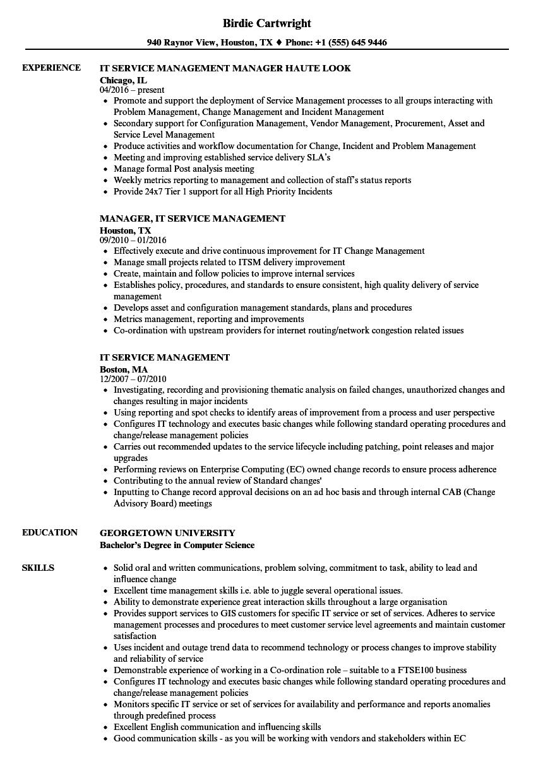 itil change management sample resume
