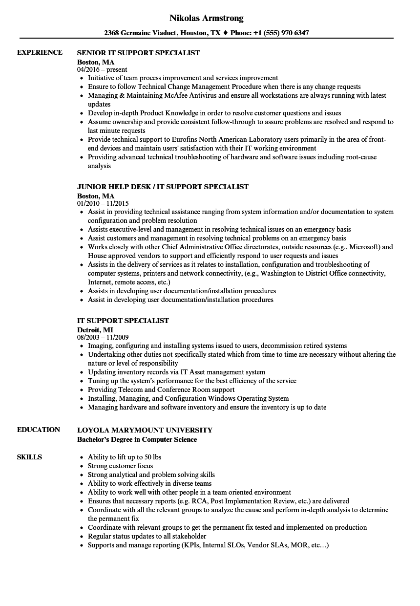 it support specialist resume examples