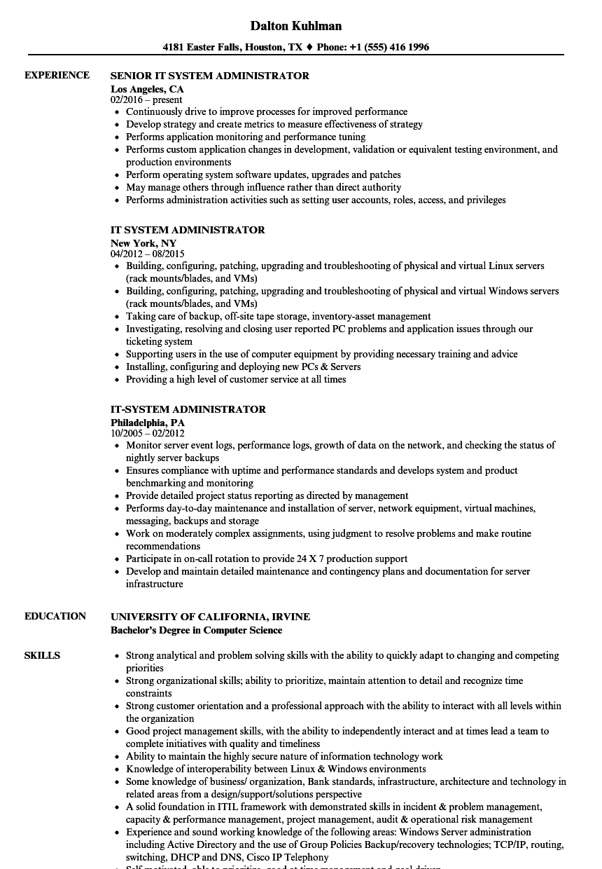 windows system administrator sample resume experience